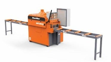 MR200 Double Arbor Multirip with infeed and outfeed tables