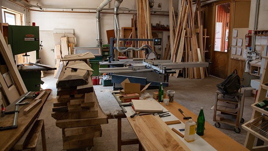 Workshop for teaching how to make furniture out of wood