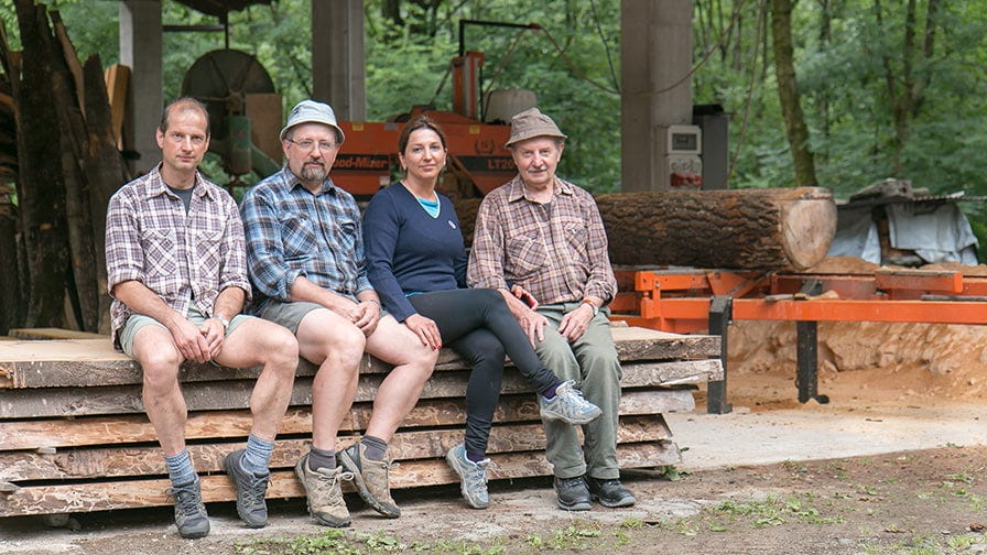 The Peretti family with their sawmill